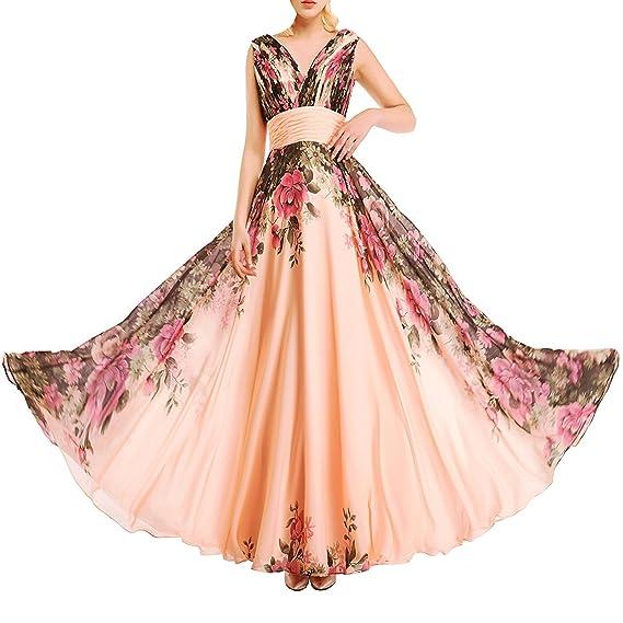 f1261be12b2f KAXIDY Vestito Fiore Donna Vestiti da Sera Eleganti Vestito da Sera Lungo  Abiti da Cocktail Abiti da Sera Rosa Giallo: Amazon.it: Abbigliamento