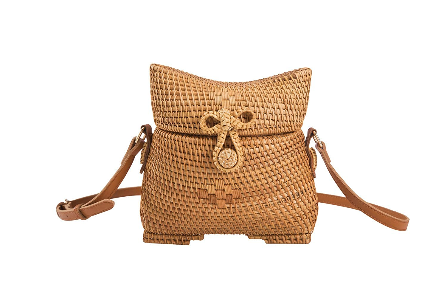 Gourd Shape BOKPLD Bali Ata Rattan Woven Crossbody Bag   Backpack   Shoulder bag with Bow Clasp for Women