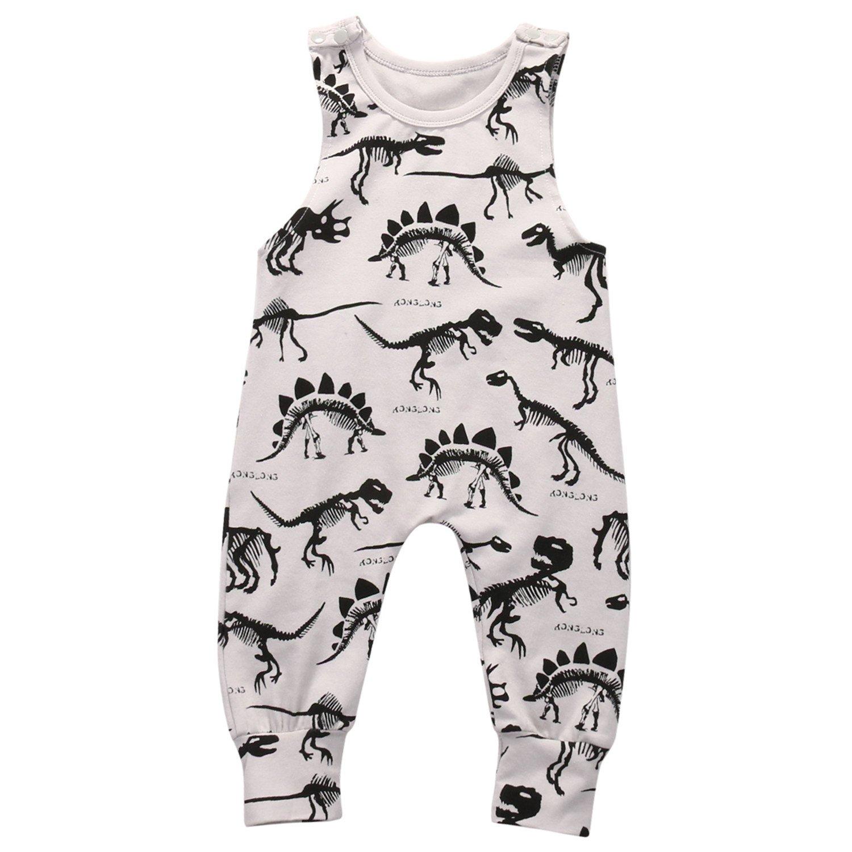 Susan1999 Baby Boy Girl Clothes Children Summer Sleeveless Dinosaur Romper Cotton Jumpsuit Outfit Casual Sunsuit