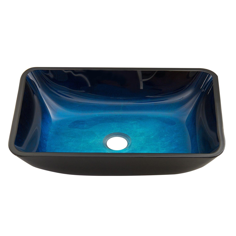 VIGO Rectangular Turquoise Water Glass Vessel Bathroom Sink ...