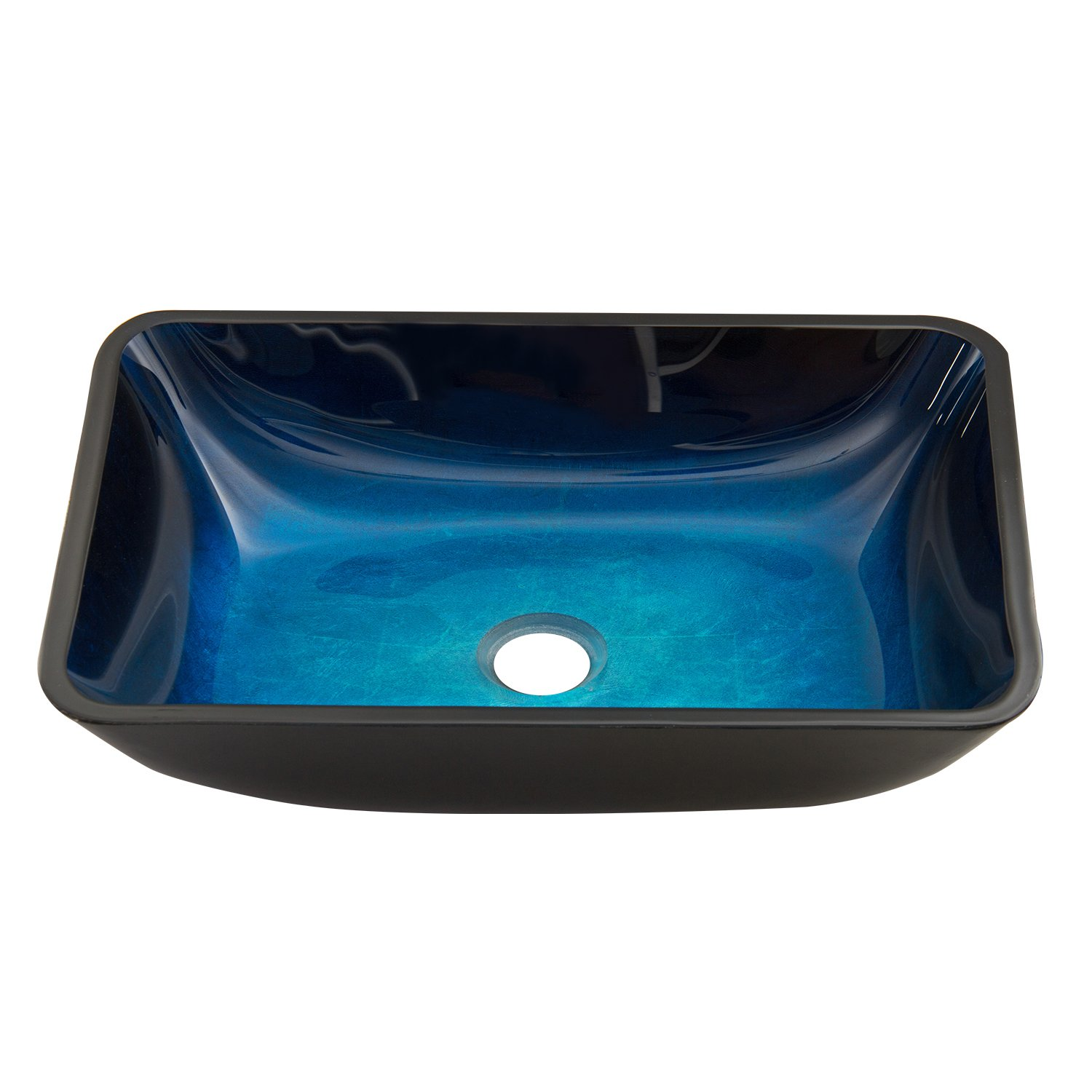 VIGO Rectangular Turquoise Water Glass Vessel Bathroom Sink by VIGO