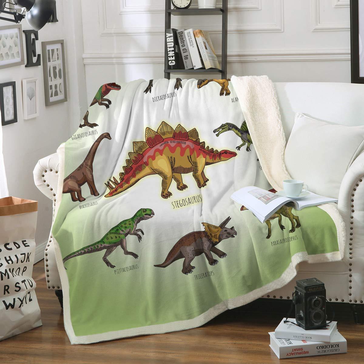 Sleepwish Dinosaur Throw Blanket Kids Boys Ancient Animal Sherpa Fleece Blanket Green White Dinosaurs Blankets (50'' x 60'')
