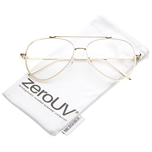 dee0dac50304 Amazon.com: zeroUV - Mod Fashion Teardrop Rimless Clear Flat Lens Metal  Frame Aviator Eyeglasses 58mm (Gold/Clear): Clothing