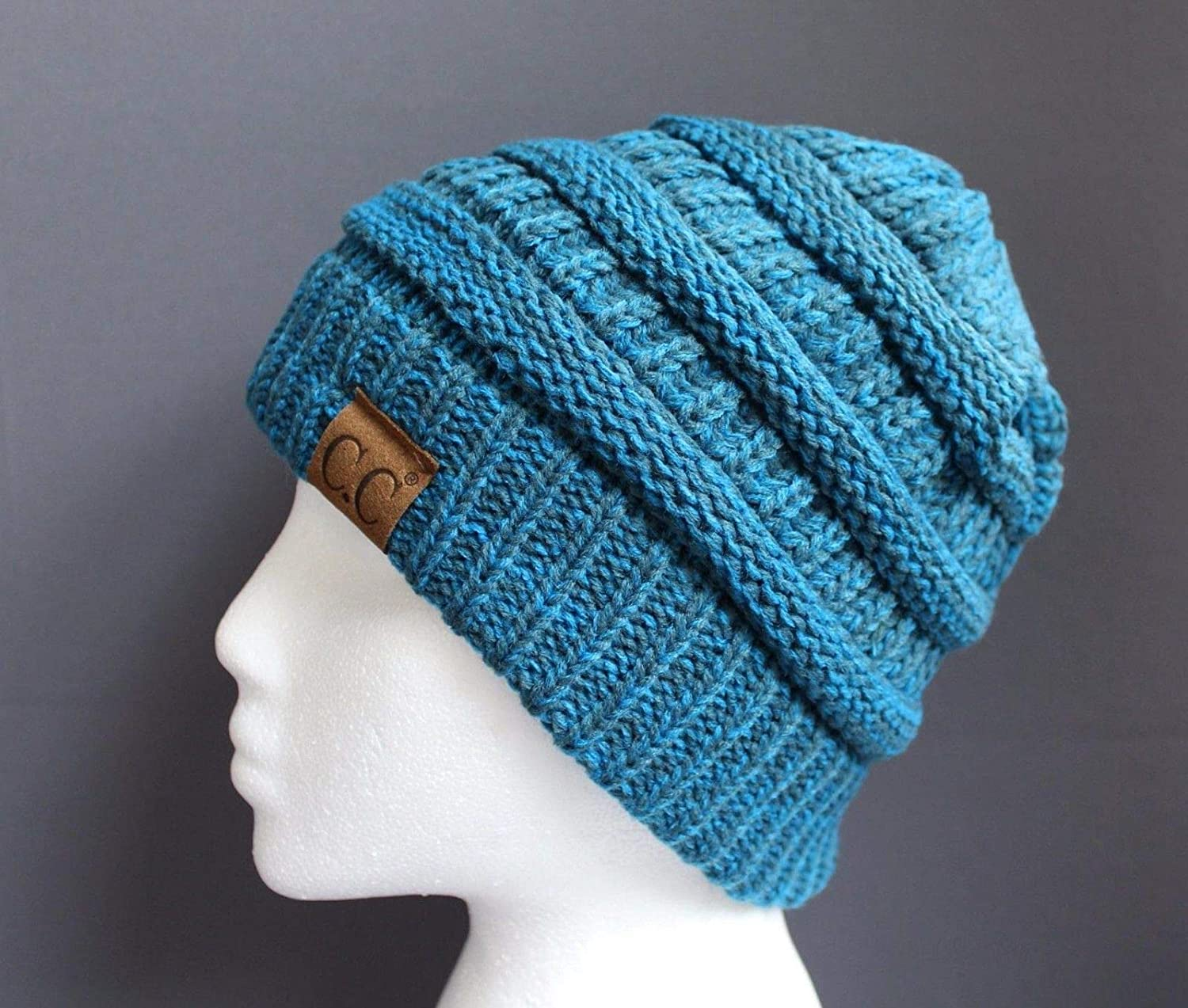 Amazon.com   Dark Teal ski hat chunky thick knit slouch cap beanie winter  crochet hat marled   Beauty 26ae93ff26f