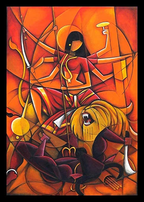 Tallenge Durga Maa Contemporary Indian Painting Medium Canvas Framed 18 X 24 Inches