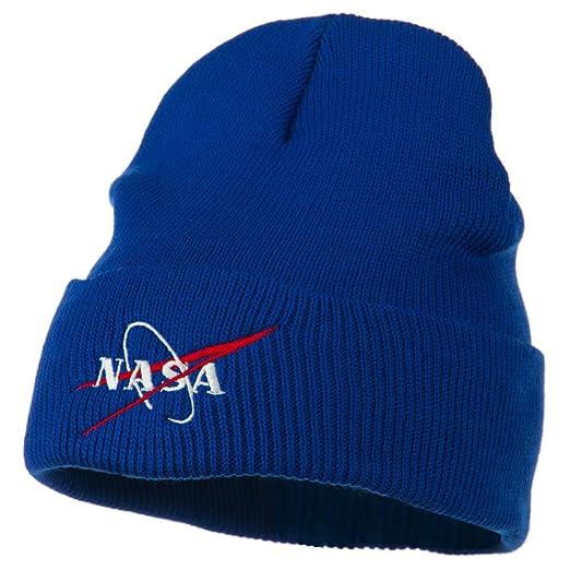Amazon.com  NASA Logo Embroidered Long Knit Beanie - Royal OSFM ... dc043d09d007