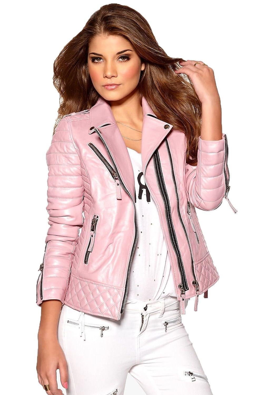 Leather Lifestyle Womens Lambskin Genuine Leather Jacket Slim Fit Biker Motorcycle Stylish Coat #WJ75