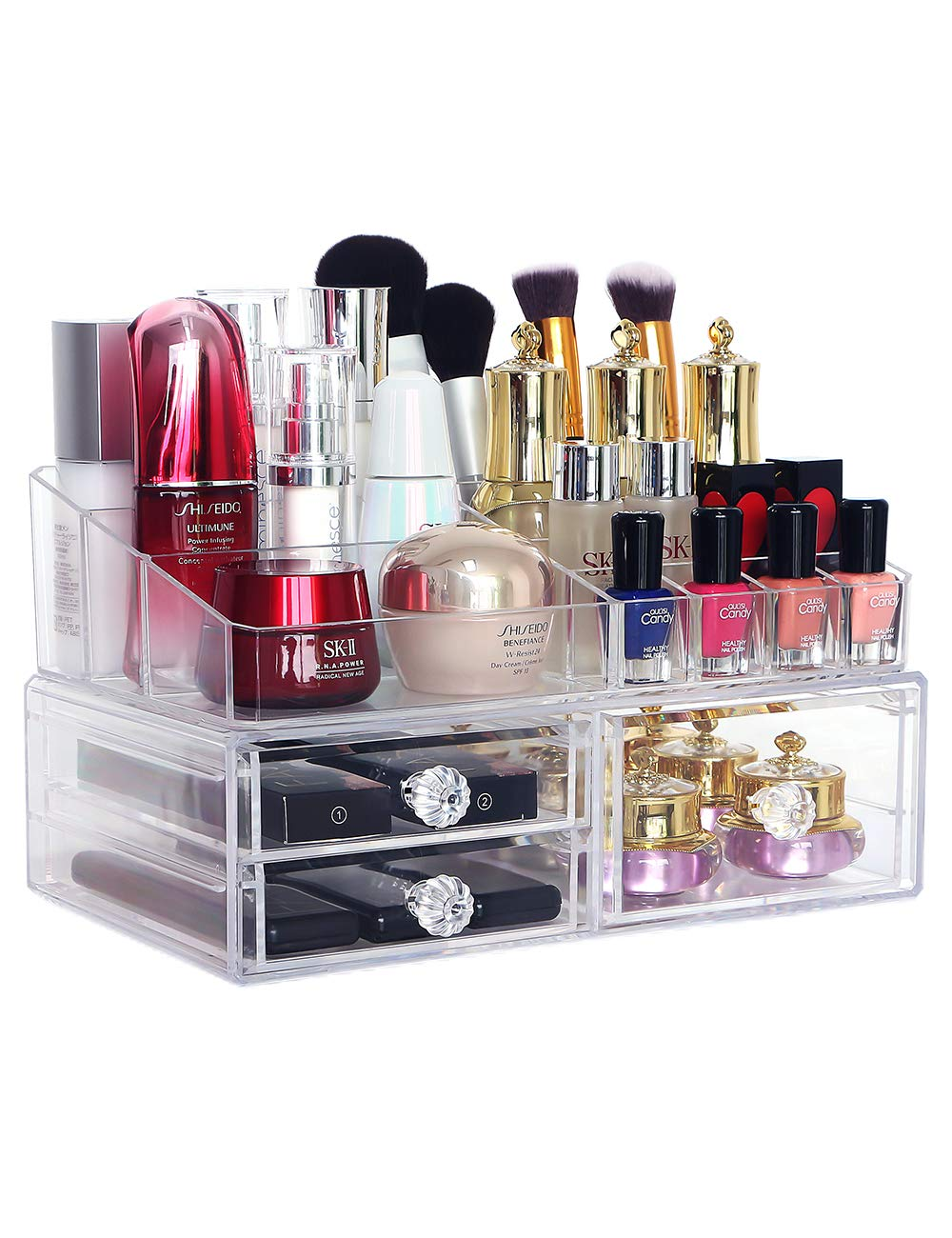 COOLBEAR Makeup Organizer Countertop Clear Acrylic Cosmetic Display Boxes with 3 Drawers for Bathroom Bedroom