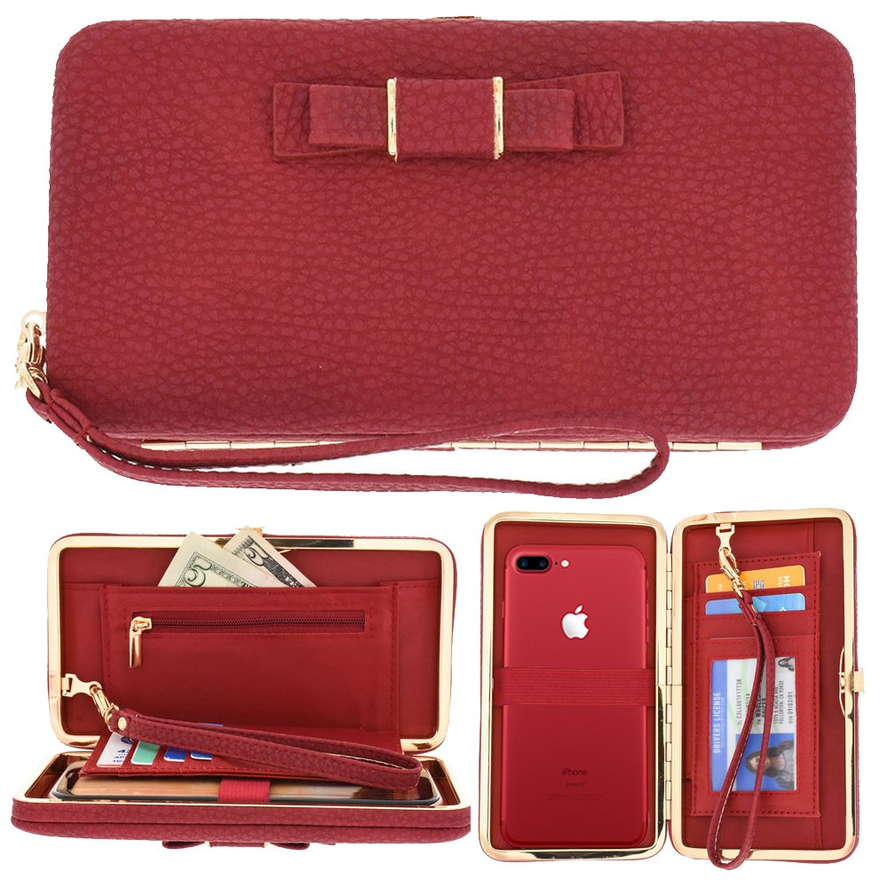 Phone Clutch Wallet, TraderPlus Long Style Leather Clutch Handbag Bow-Knot Purse Cellphone Case for iPhone X/8/8 Plus/7/7 Plus/Galaxy S8/S7/S7 edge (Blue)