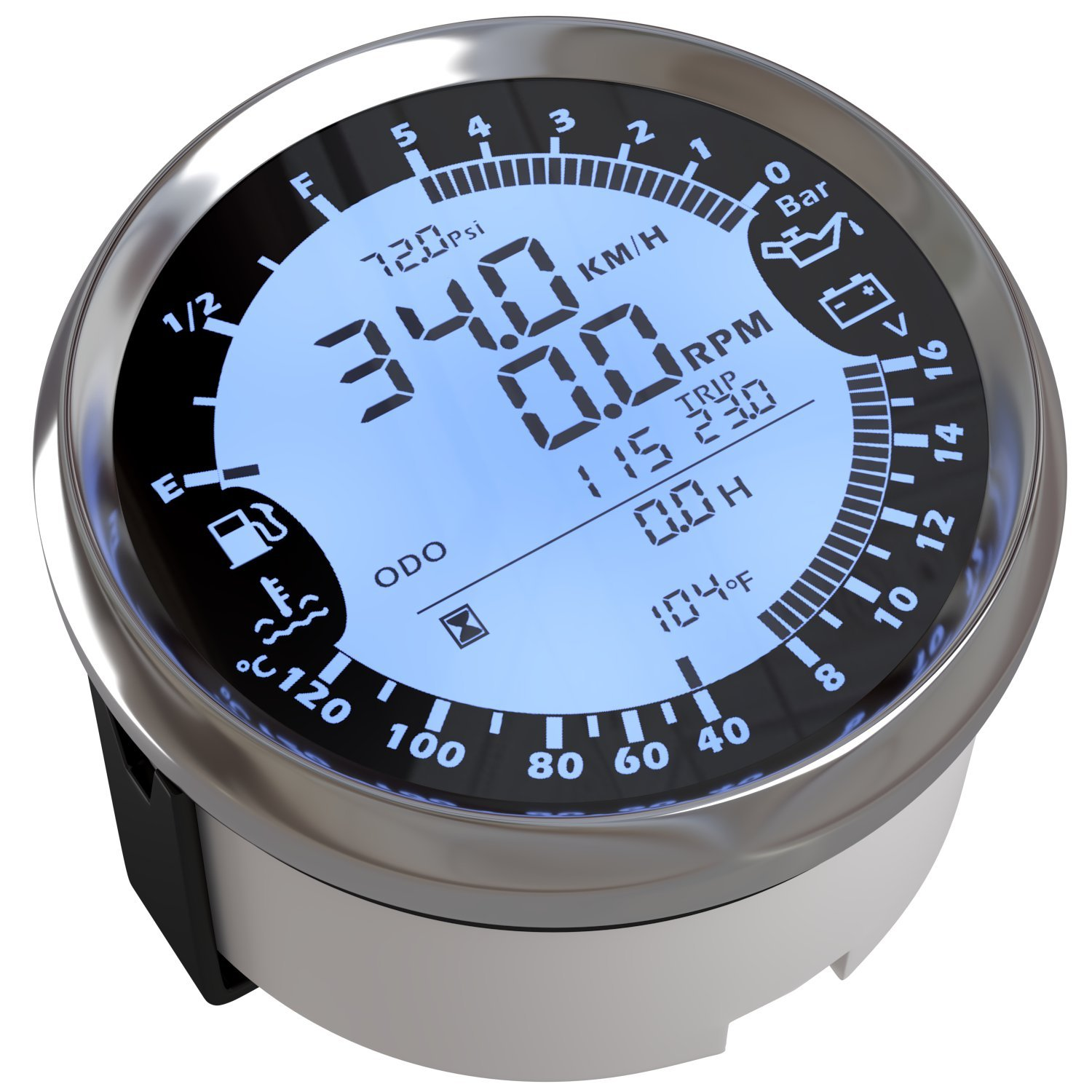 Black and Silver Bezel 6 in 1 Functions Atach 85MM Digital GPS Speedometer Tachometer and MULTIMETER