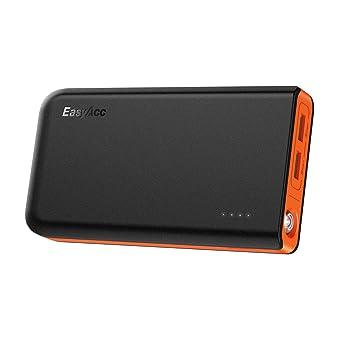 EasyAcc Batería Externa 13000mAh Cargador Portátil con 2 Entrada Carga Rápida para Teléfonos Inteligentes, Tabletas y más Negro y Naranja