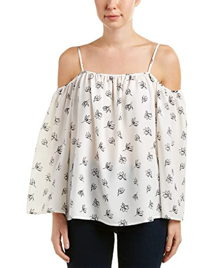 82483b83 Vince Camuto Womens Long Sleeve Fluent Flowers Cold-Shoulder Blouse New  Ivory XS One Size