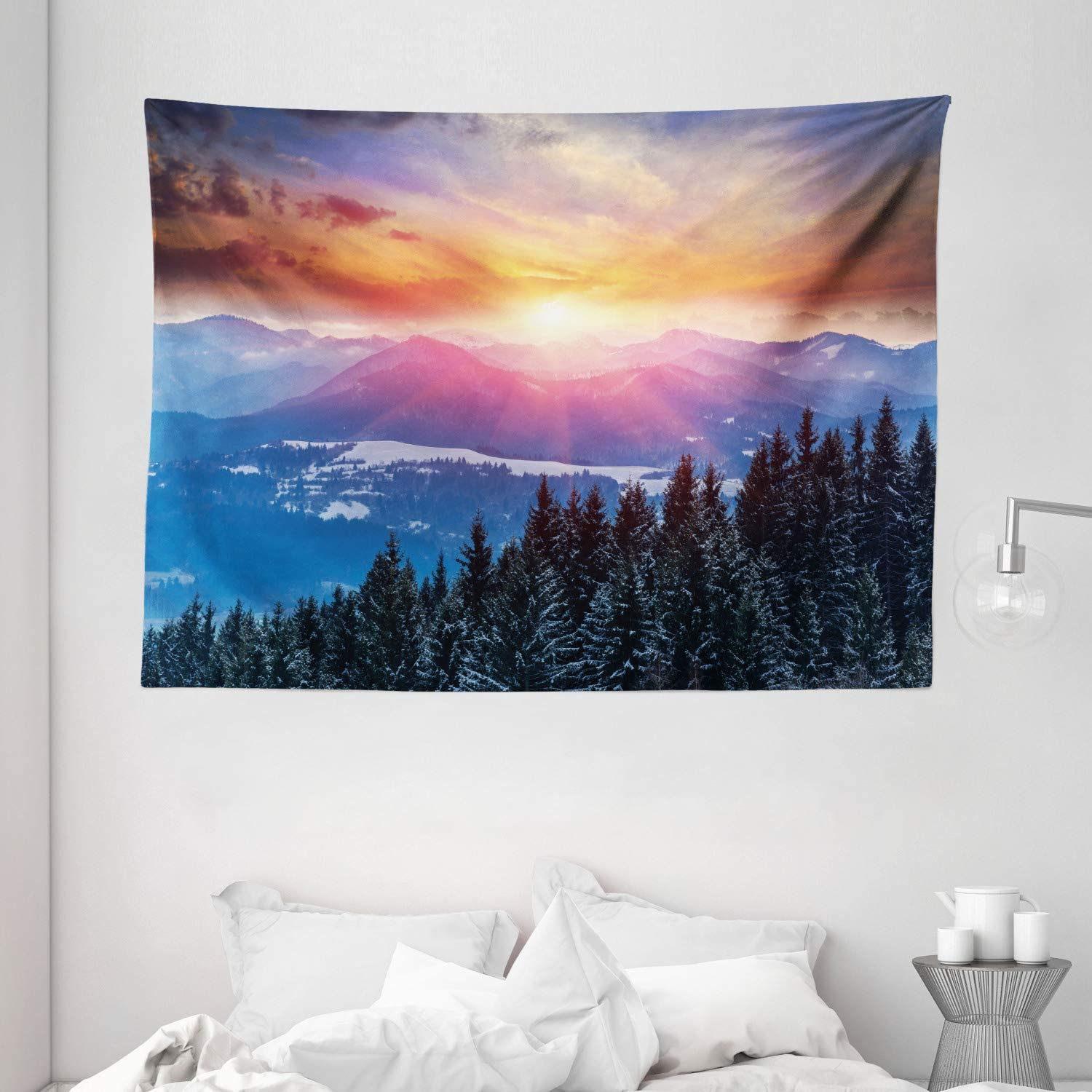 """Ambesonne Winter Tapestry, Sunset in Mountains with Hazy Sky with Dawn Horizon Theme, Wide Wall Hanging for Bedroom Living Room Dorm, 80"""" X 60"""", Orange Blue"""