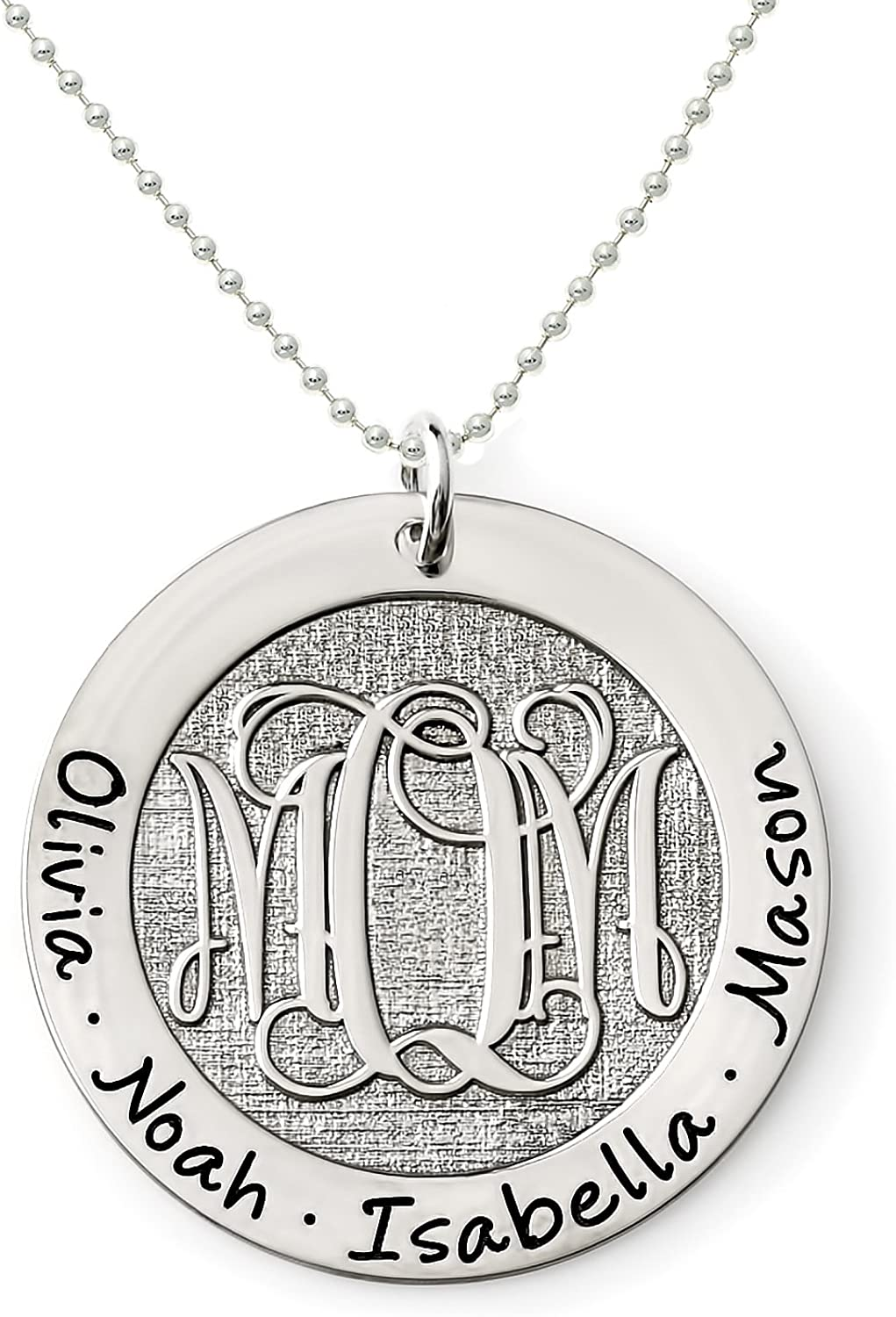 AJs Collection Personalized Beveled Customize Center Monogram and Names Choice of Chain Monogram Washer Name Necklace