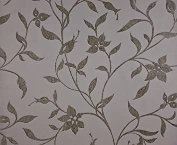 Dutch Wallcoverings 7229–2 Blumen Tapete – Grau/Silber: Amazon.de ...