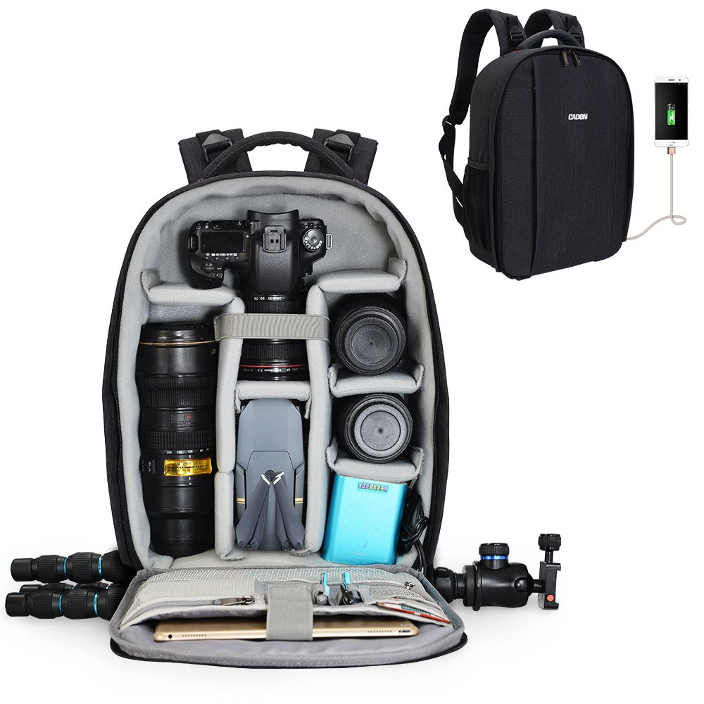 Caden Camera Backpack Professional DSLR Bag with USB Charging Port and Rain Cover Photography Laptop Backpack for Women Men Waterproof Camera Case for Sony Canon Nikon Lens Tripod and Accessories