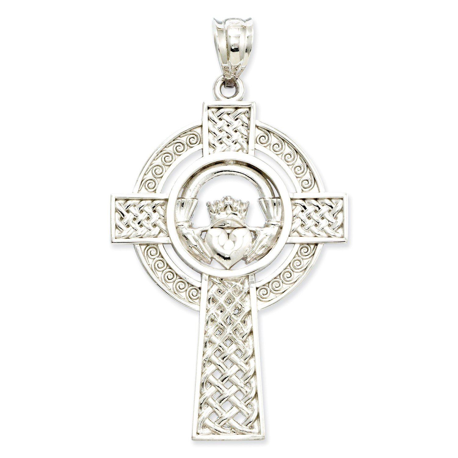 Roy Rose Jewelry 14K White Gold Celtic Claddagh Cross Pendant