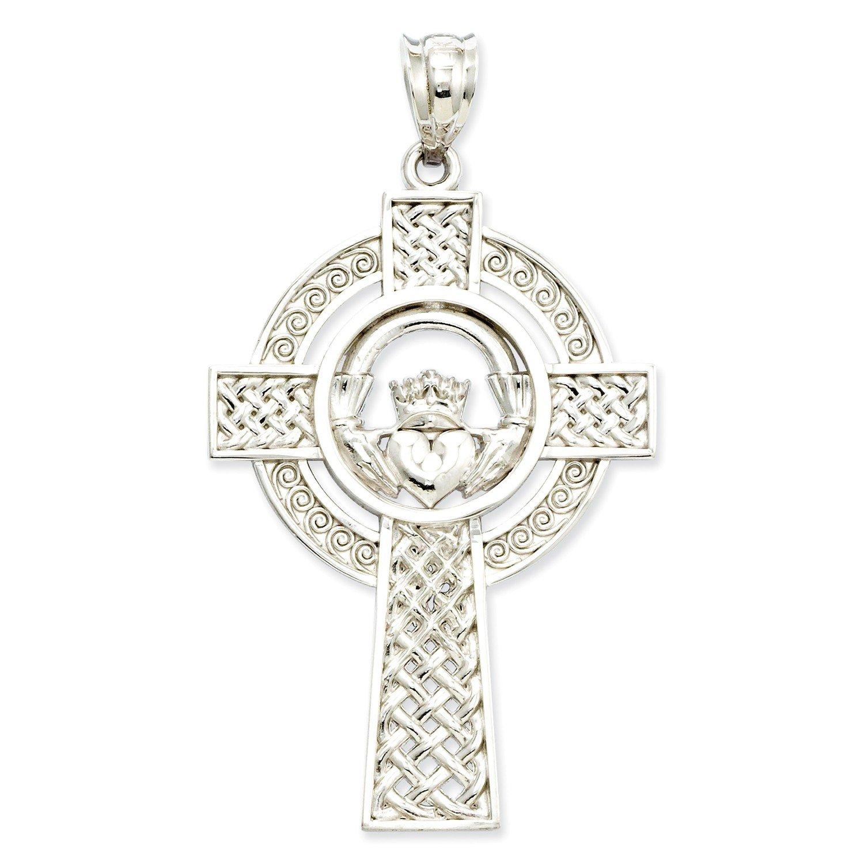 Roy Rose Jewelry 14K White Gold Celtic Claddagh Cross Pendant