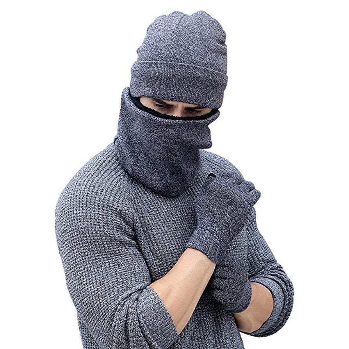 ARNIYA Winter Warm Knit Hat+Scarf+Touch Screen Gloves ,Unisex 3 Pieces Knitted Set
