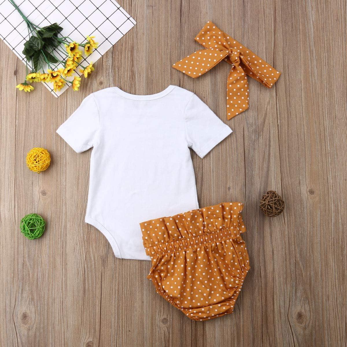 Gniherii Newborn Baby Girls Summer Clothes 3Pcs Short Sleeve Romper Shirt Headband Outfit 0-18M Polka Dot Shorts
