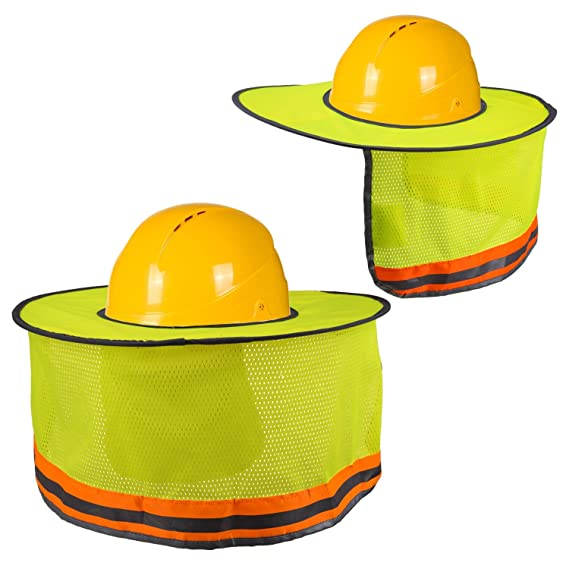 LUTER Hard Hat Sun Shade Neck Shield Sun Protection With Reflective Strip and High Visable Mesh Design For Hardhats/Helmet Construction(2Pcs) - - Amazon.com