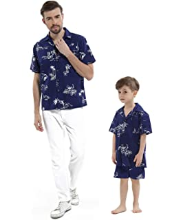 2f3cb291 Matching Father Son Hawaiian Luau Outfit Men Shirt Boy Shirt Shorts Navy  Classic Flamingo