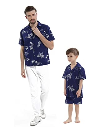 59a5f4cdb Matching Father Son Hawaiian Luau Outfit Men Shirt Boy Shirt Only Navy Classic  Flamingo S-