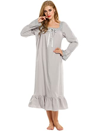 2e4bbefe77b Avidlove Womens Cotton Victorian Vintage Long Sleeve White Classic Nightgown  Sleepshirt