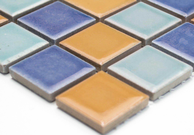 Rete mosaico mosaico piastrelle quadrato mix blu verde arancione