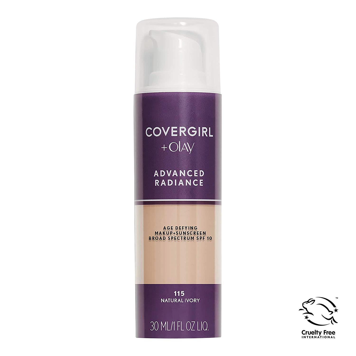 COVERGIRL Advanced Radiance Age Defying Foundation Makeup Natural Ivory, 1 oz (packaging may vary)
