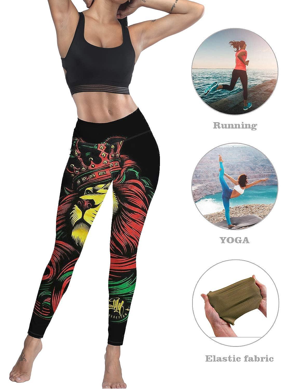 Sodika Womens Yoga Pants Workout Leggings High Waisted Capris Tummy Control Gym Running Leggings Lion Crown Pattern