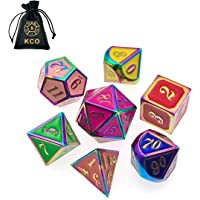 KCO DND Metal Dice Set Enamel dice 7 Pieces Metal Dice Set DND Dice Role Playing Game Dice Set with Storage Bag for RPG Dungeons and Dragons D&D Math Teaching (7 Color Rainbow)