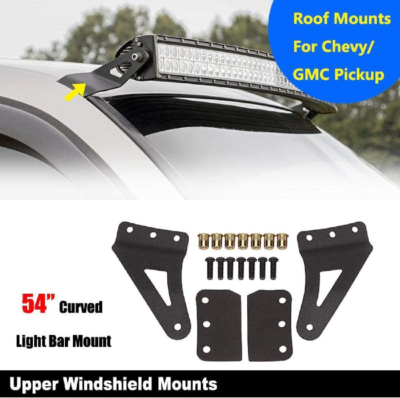 Partol 54 Inch Curved LED Light Bar Mounting Brackets Upper Windshield Mount Kit for Chevy Silverado//GMC Sierra Yukon 2007-2013 Upper Roof Windshield Mount Bracket