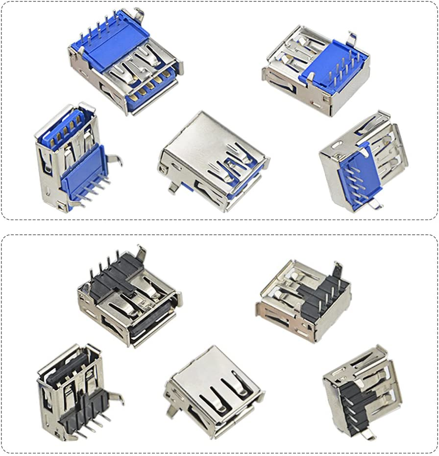 TOVOT 150 PCS USB 2.0,3.0 Type A Male Female Plug Connector Jack Socket Connector PBC Mounting Assortment Set
