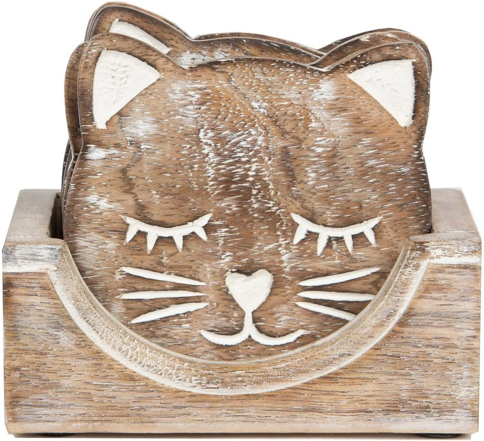 Black Friday Unique Adorable Owl Shaped Wooden Coasters Set of 4 with Holder, Bar Dining Accessories (Cat)