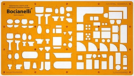 1:50 Scale Architectural Sanitary Plumbing Kitchen Furniture Architect Drafting Template Stencil - Technical Drafting Design Floor Plan Symbols