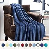Bedsure Flannel Fleece Luxury Blanket Navy Twin Size Lightweight Cozy Plush Microfiber Solid Blanket by