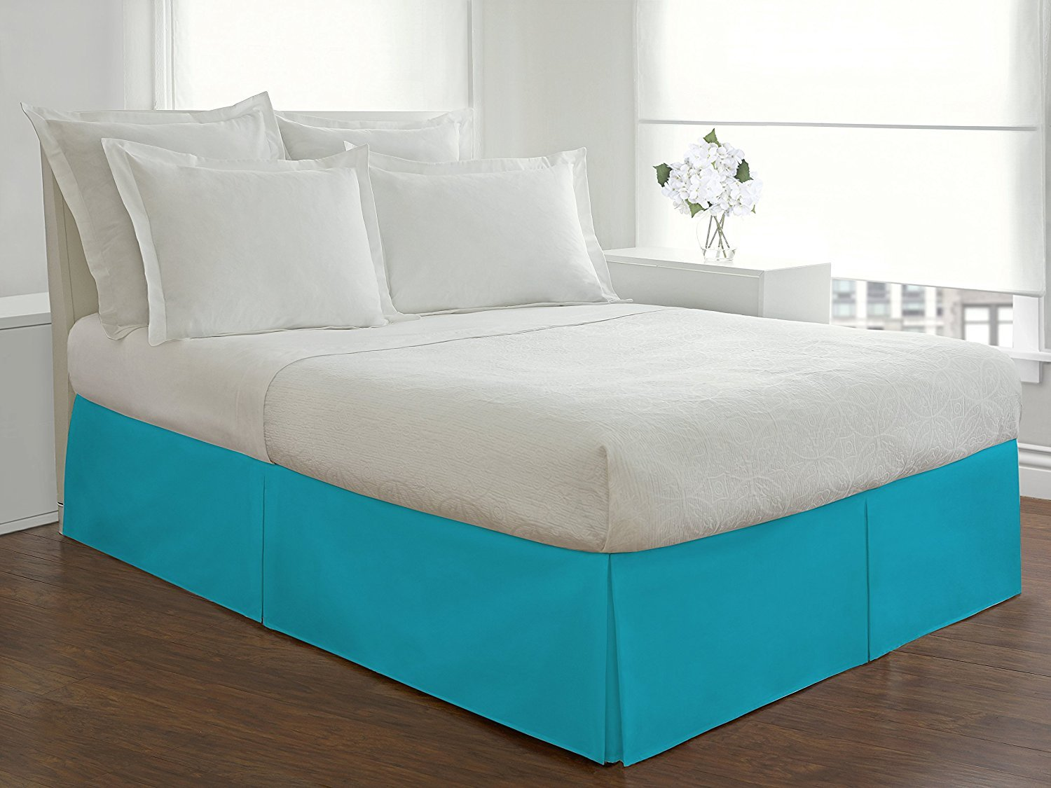 Solid Pattern Italian Luxury Hotel Collection Bed Skirt with 14-inch Drop Length - 100% Egyptian Cotton 400 Thread Count Quality Pleated Dust Ruffle Bed Skirt ( Queen, Turquoise )