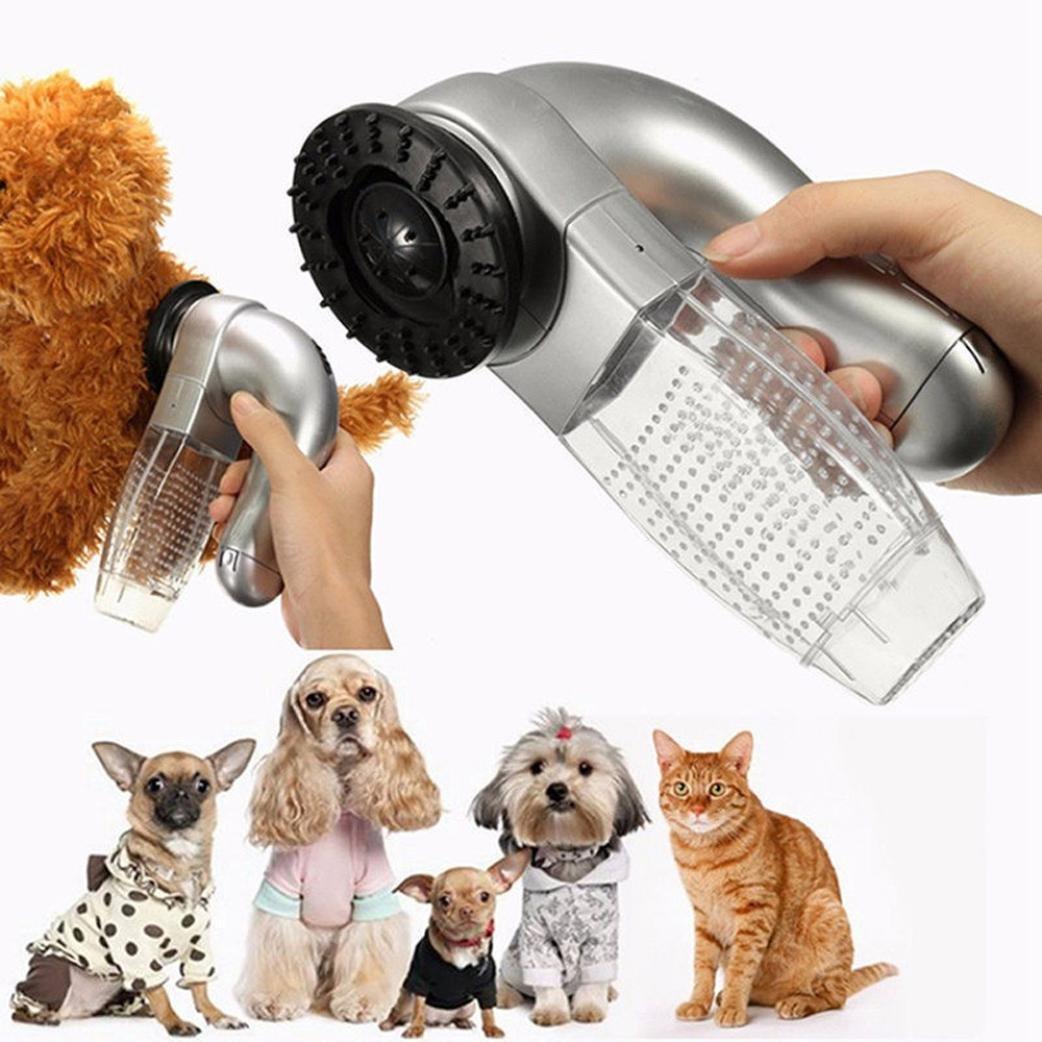 Iusun Pet Hair Fur Remover Shedd Grooming Brush Cat Dog Comb Vacuum Cleaner Trimmer (Silver) 16817071952
