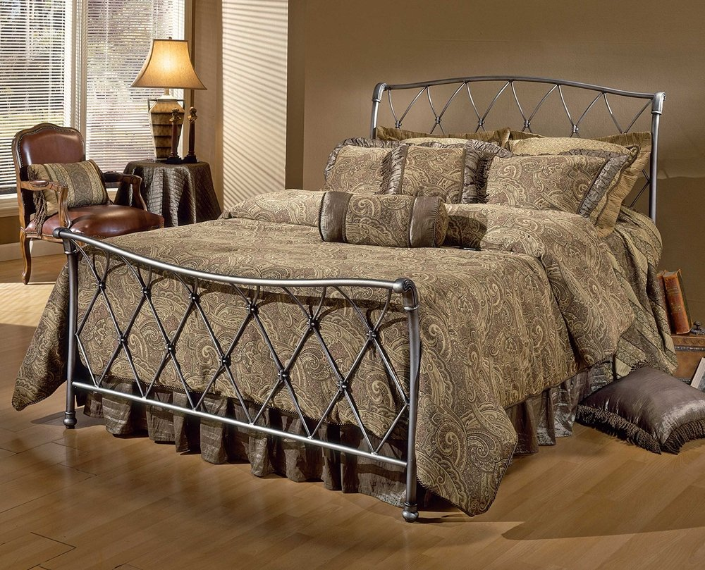 amazoncom hillsdale furniture 1298bkr silverton bed set with rails king brushed silver kitchen u0026 dining