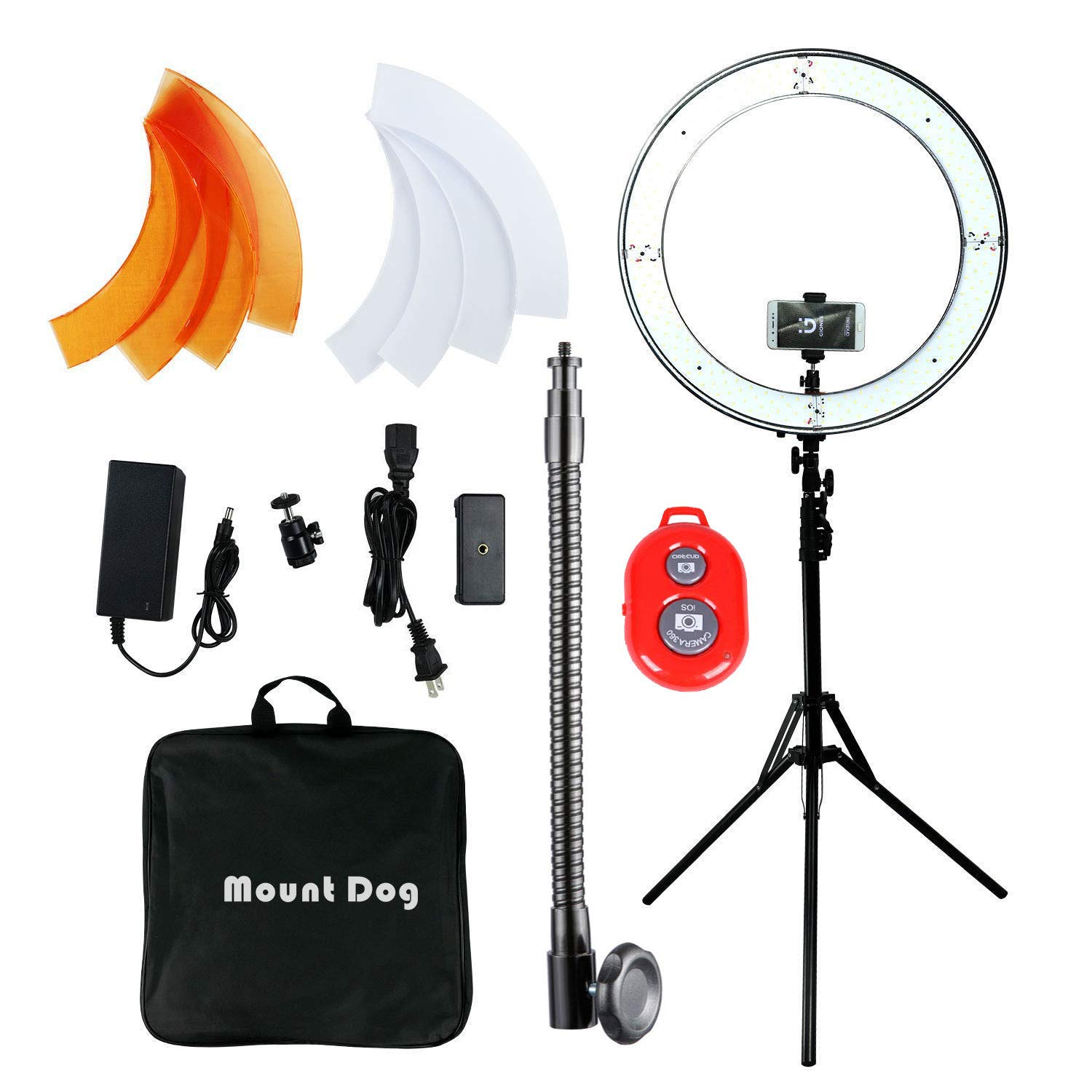 MOUNTDOG Ring Light 18 Inch 48CM 55W 240 Bulbs LED Ringlight Dimmable Round Continuous Circle Lighting Stand Kit Color Temperature Camera Mirror YouTube Video Makeup Lighting Bluetooth Remote Control