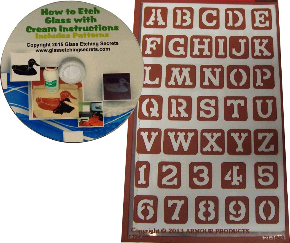 Western Font Letter Stencils, Reusable Adhesive Designs + Free How to Etch CD Armour Products