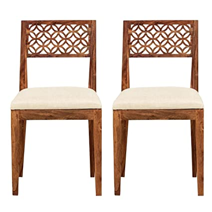 Aprodz Sheesham Wood Durque Dining Chair Set for Home | Set of 2 Chair | Natural Finish