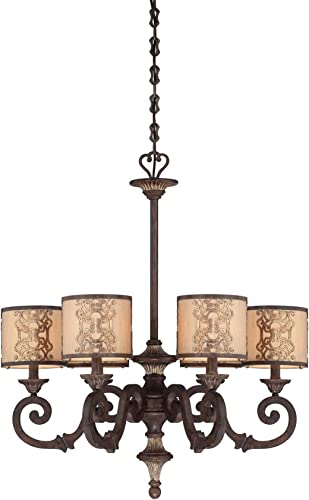 Savoy House 1-3950-6-124 Chandelier with Soft Cream Fabric Shades, Fiesta Bronze with Gold Highlights Finish