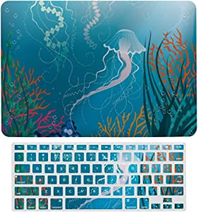 MacBook Air 13 Inch Case(A1369 & A1466, Older Version 2010 2017 Release), Plastic Hard Protective Laptop Case Shell with Keyboard Cover, Jellyfishes Swimming Under The Sea Coral Reef Plants Oceanic