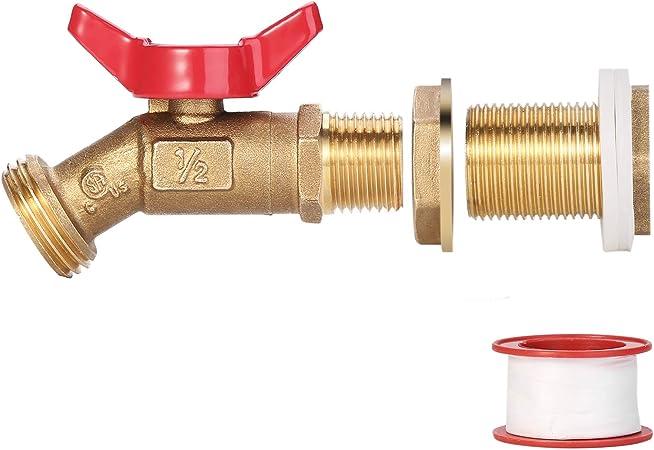 Brass Rain Barrel Quarter Turn Ball Valve Spigot with Bulkhead RBS005