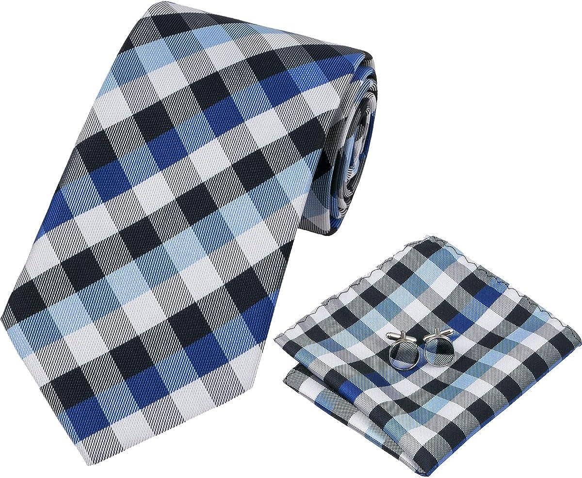 Barry.Wang Mens Blue Plaid Check Silk Necktie Set Formal Tie Pocket Square Cufflinks Set