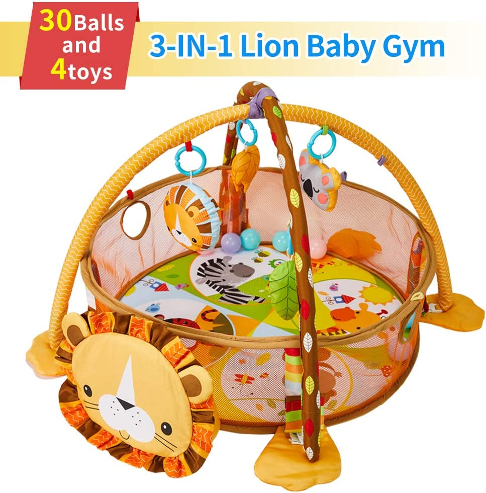 WYSWYG Stimulating Baby Play Mat - 3 in 1 Baby Gym with 4 Hanging Toys & 30 Balls - Infant Playmat for Tummy Time - Educational Baby Activity Mat & Ball Pit - Unisex Play Gym for Boys & Girls (Lion)