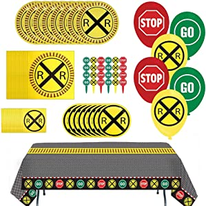 Havercamp Railroad Party Bundle | Dinner & Dessert Plates, Luncheon & Beverage Napkins, Table Cover, Balloons, Picks | Great for Kid's Birthday Party, Train Collector's Event