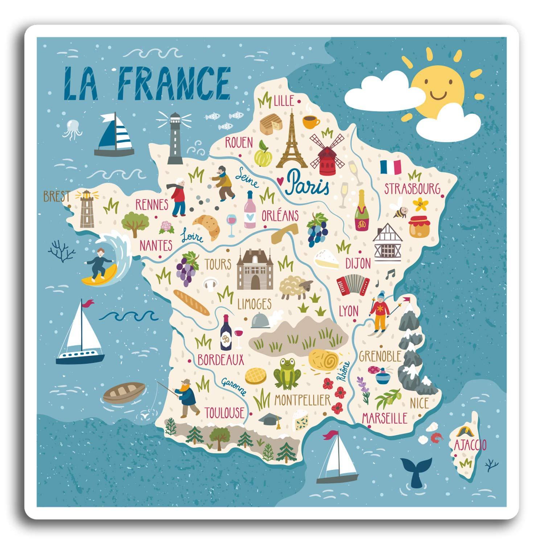 DestinationVinyl 2 x 10 cm en France fran/çaise Carte Autocollants en Vinyle 10 cm de Large Sticker Laptop Bagages Cadeau # 19375